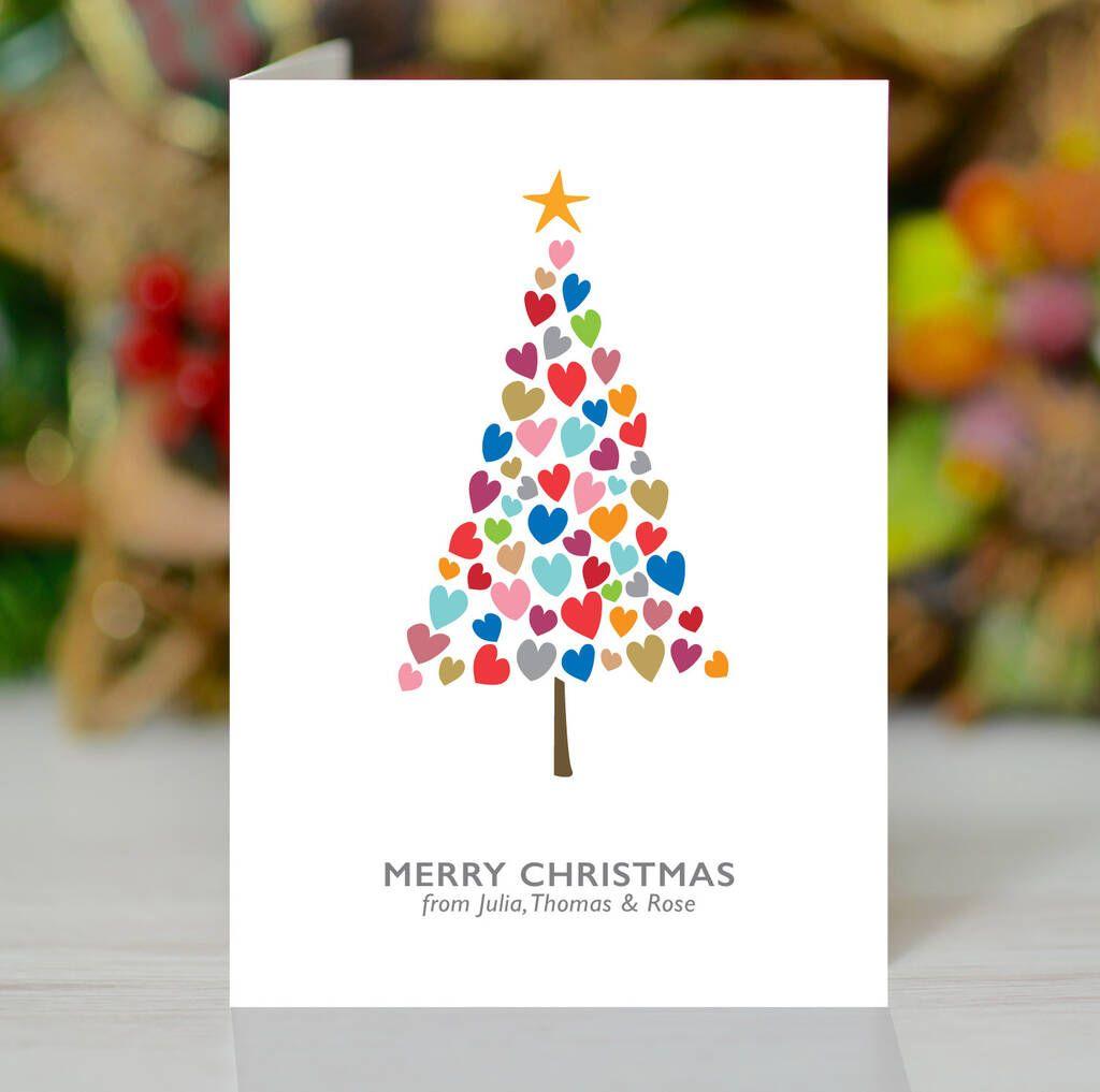 'Christmas Tree Of Hearts' Personalised Xmas Card