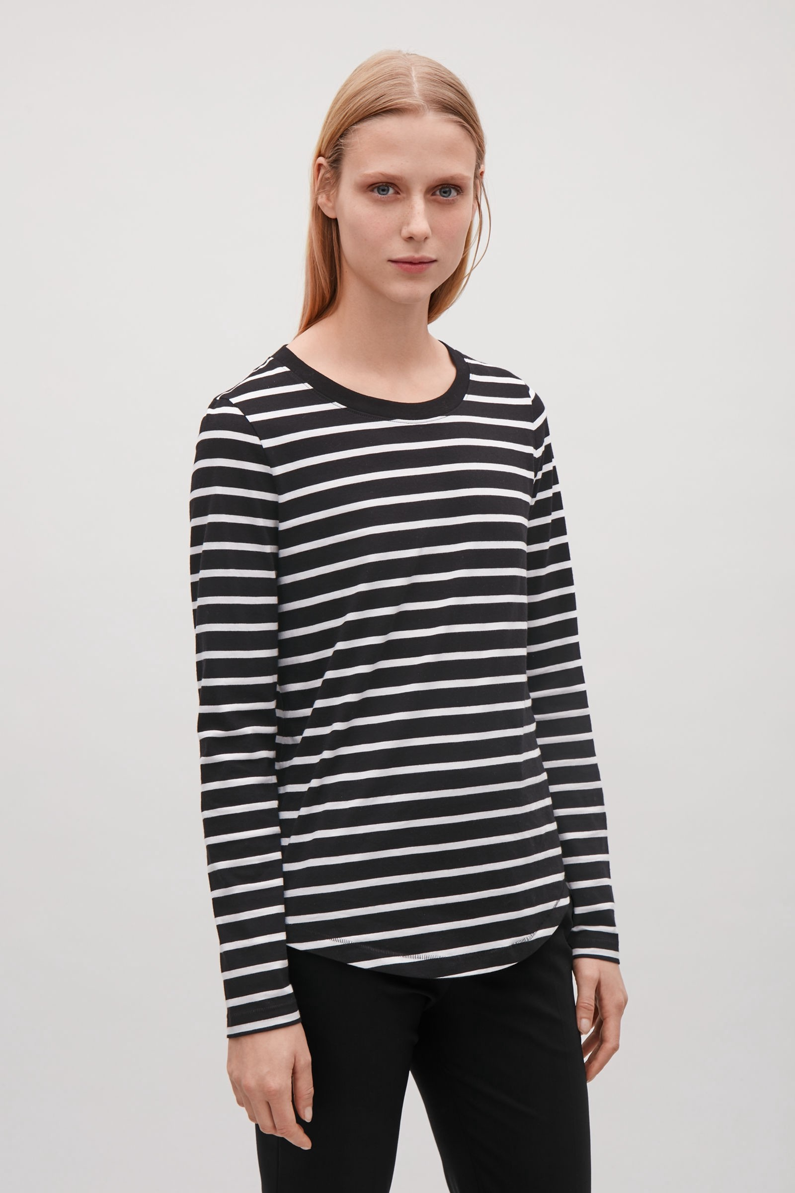 07ff350c45b0 Cos Long-Sleeved Top With Curved Hem - Black XS