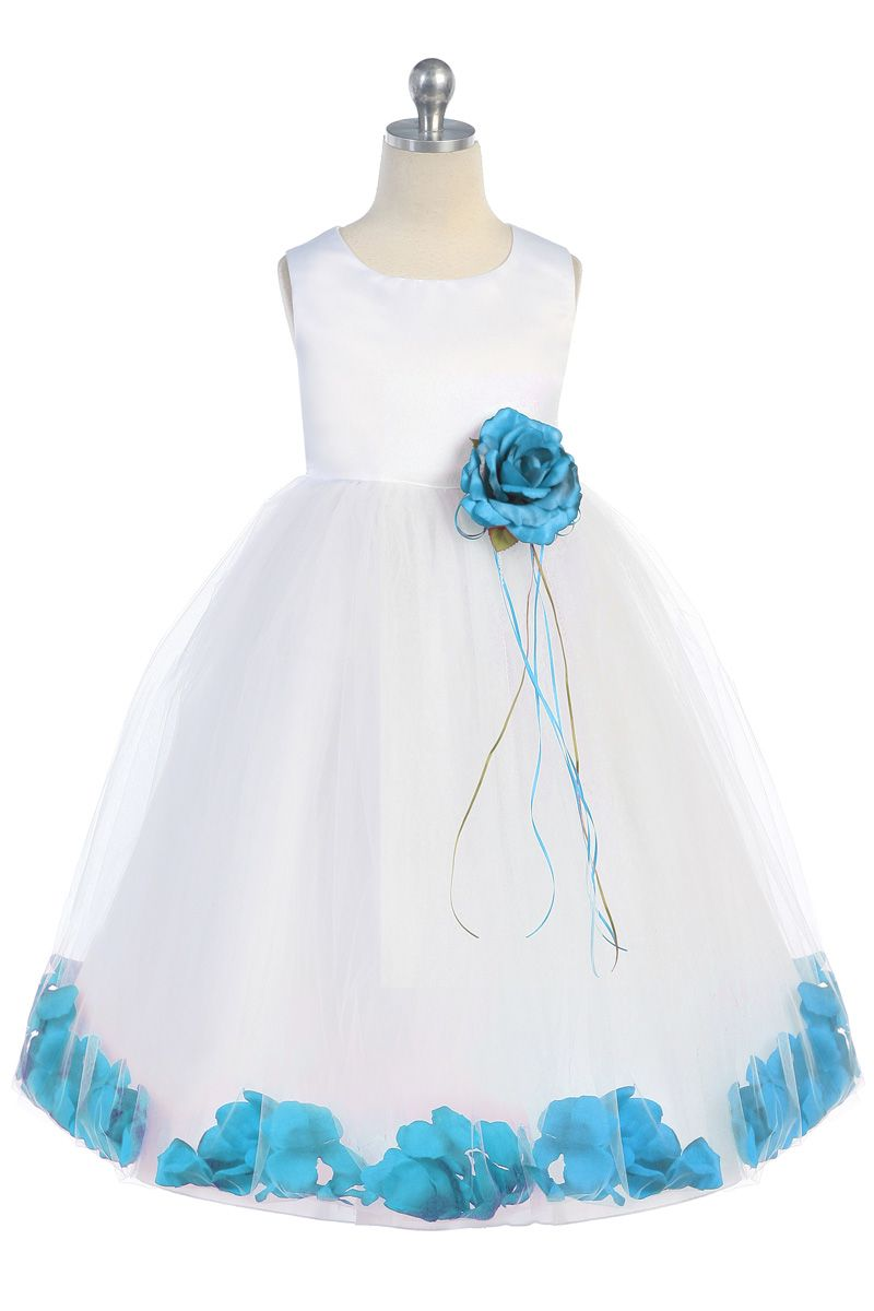 Whiteaqua sleeveless satin flower petal flower girl dress wedding whiteaqua sleeveless satin flower petal flower girl dress k160b aq 3895 on girlsdressline izmirmasajfo
