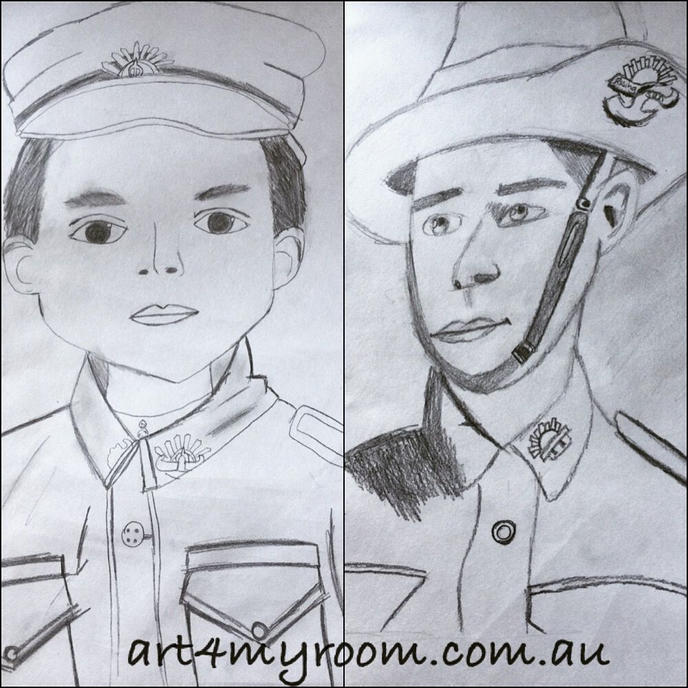Anzac soldiers drawing sketch black and white pencil