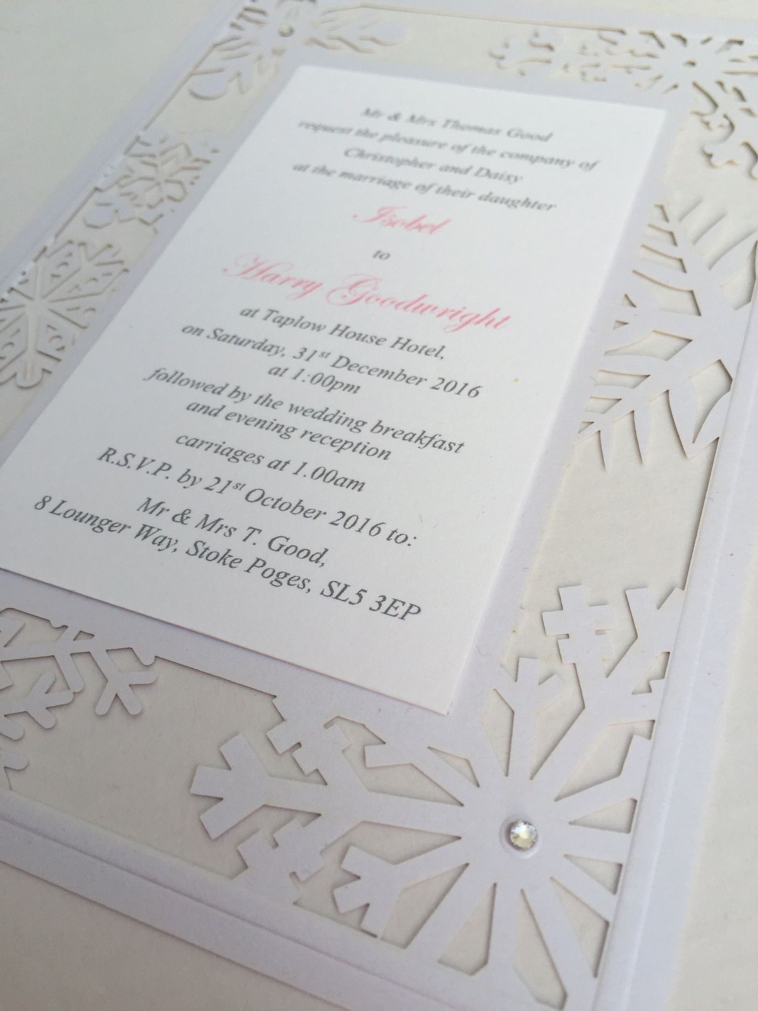 Www.sew-unique.co.uk snowflake laser cut invitation | Snowflake ...