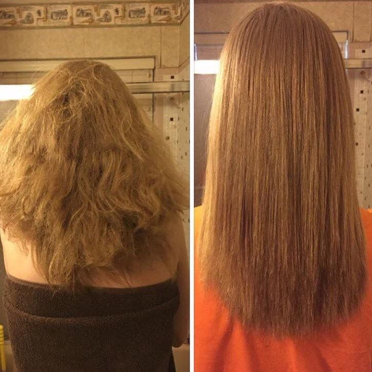 Before and after. Dry brittle hair, to soft and smooth after one ...