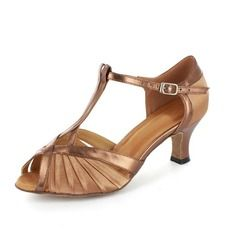 Women's Satin Patent Leather Heels Sandals Latin With T-Strap Dance Shoes
