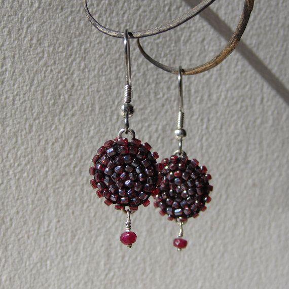 Ruby Beaded Earrings by walrustusk on Etsy, $65.00