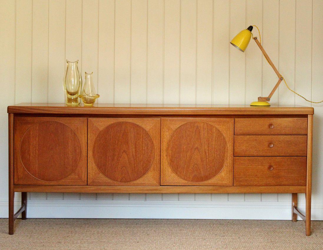 Vintage Retro Nathan Circles Teak Sideboard Mid Century Mid Century Wood Furniture Mid Century Sideboard Teak Sideboard