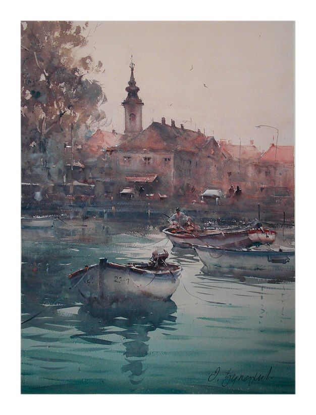 Dusan Djukaric    Danube fisherman, Zemun, watercolor, 54x74 cm