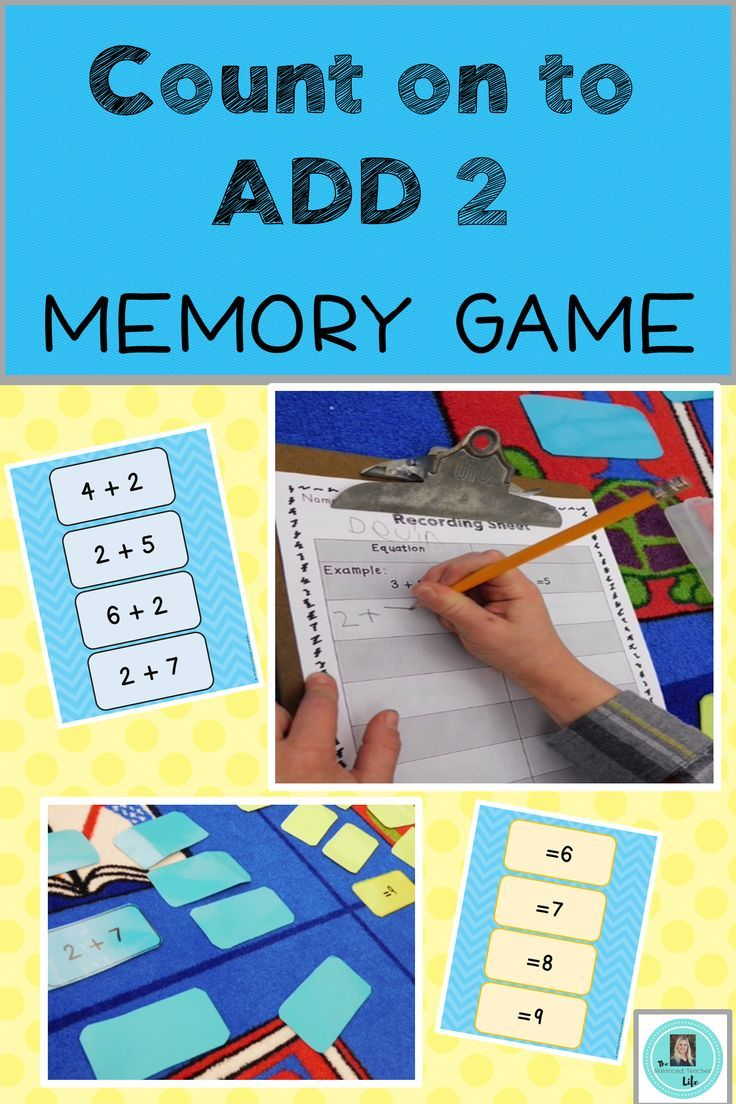 Counting on to Add 2 More Than a Number within 20 Memory Game ...