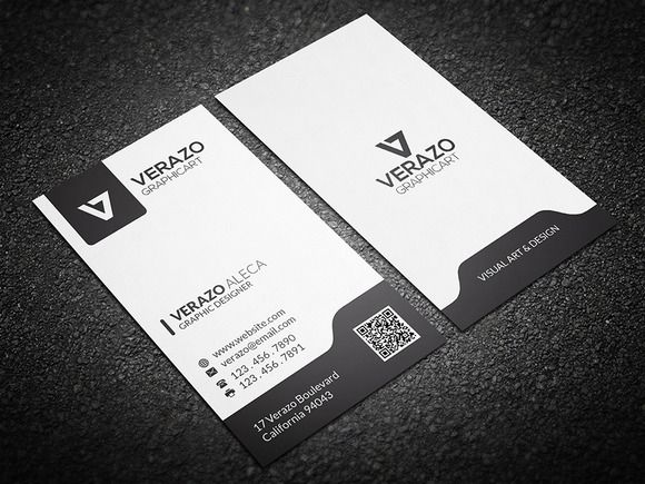 Black & White Vertical Business Card | Vertical business cards ...