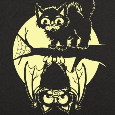 Cat And Bat Halloween T Shirt By 6 Dollar Shirts Thousands Of Designs Available For Men Women And Kids On Tees Hoo S Ands