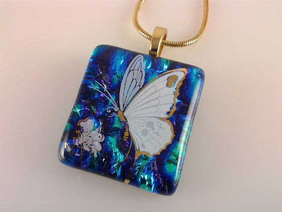 Butterfly Necklace Dichroic Glass Pendant Fused by AngelasArtGlass