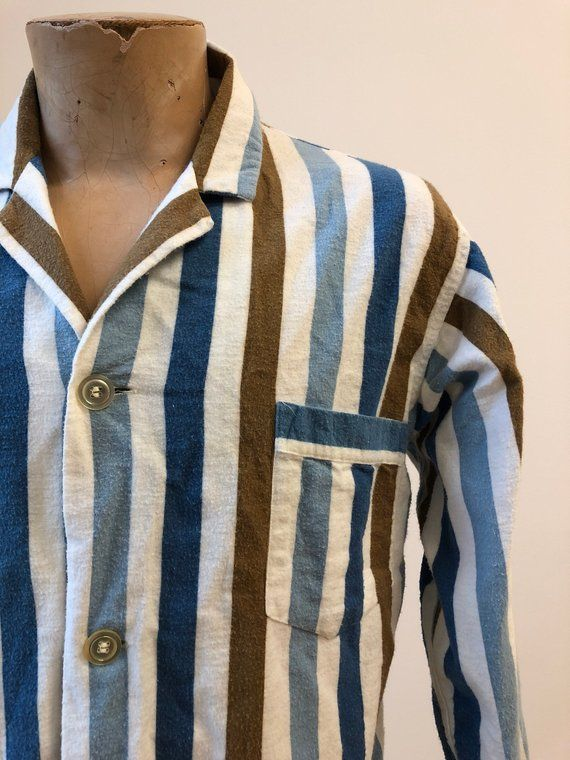 Vintage 1960s Pajama Shirt   Vintage Striped Pajama Shirt   Button Down Pajama  Shirt   Vintage 80d5ed610