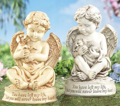 Cherub Pet Memorial Statue Garden Sculpture