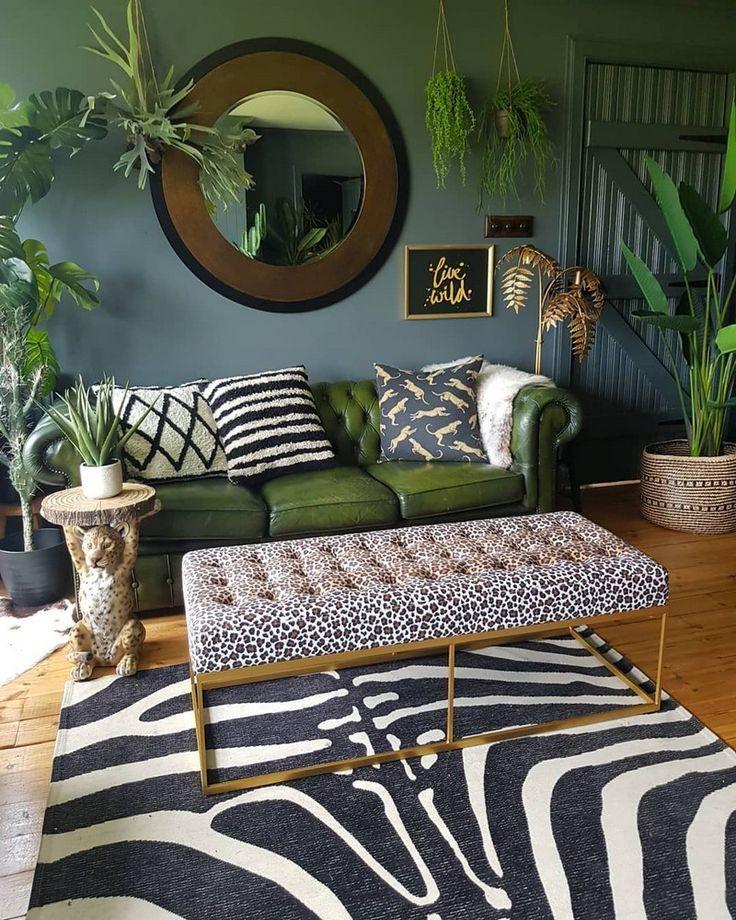 living room jungle themed decor in 2019 | Zimmerdekoration ...