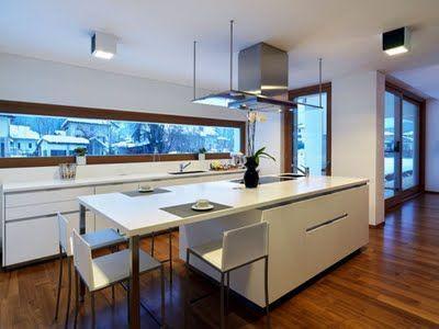Casas minimalistas y modernas cocinas con desayunador for Desayunador cocina comedor