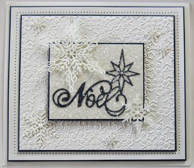 Hello bloggers!  Two easy but showy Christmas cards for you today.  First up is the Noel card.  I started by embossing a piece of white card with the Twinkle Twinkle embossing folder for texture.  I m