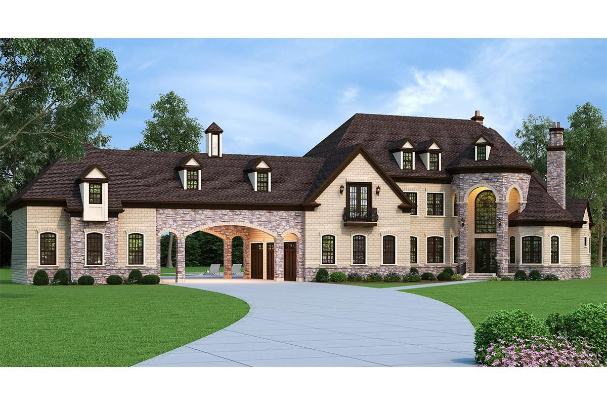 House Plan 4195 00007 French Country Plan 3 302 Square Feet 5 Bedrooms 6 Bathrooms Luxury House Plans French Country House Plans Country Style House Plans