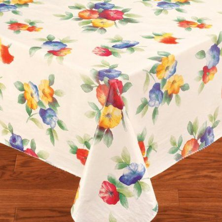 Amazon Com Water Flower Flannel Backed Vinyl Tablecloth 70 Round Home Amp Kitchen Vinyl Table Covers Vinyl Tablecloth Table Cloth