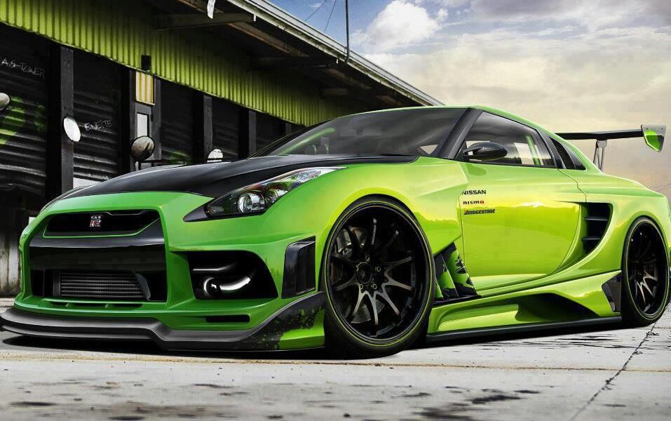 a nissan gt r is costumed and green also he got a spoiler and he lowered it a little bite cars. Black Bedroom Furniture Sets. Home Design Ideas