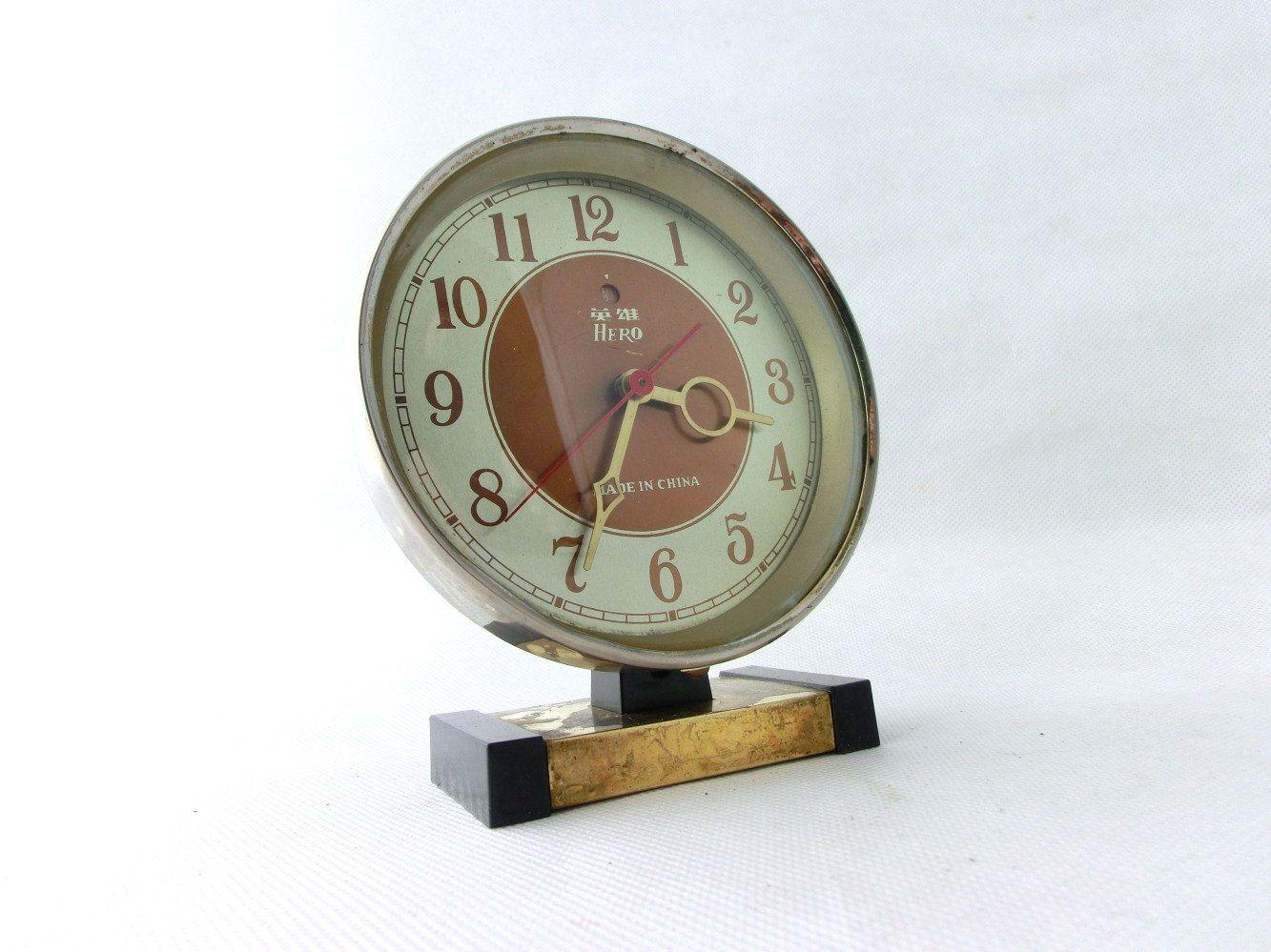 Vintage Alarm Clock Clock Made In China 80s Desk Clock Brown