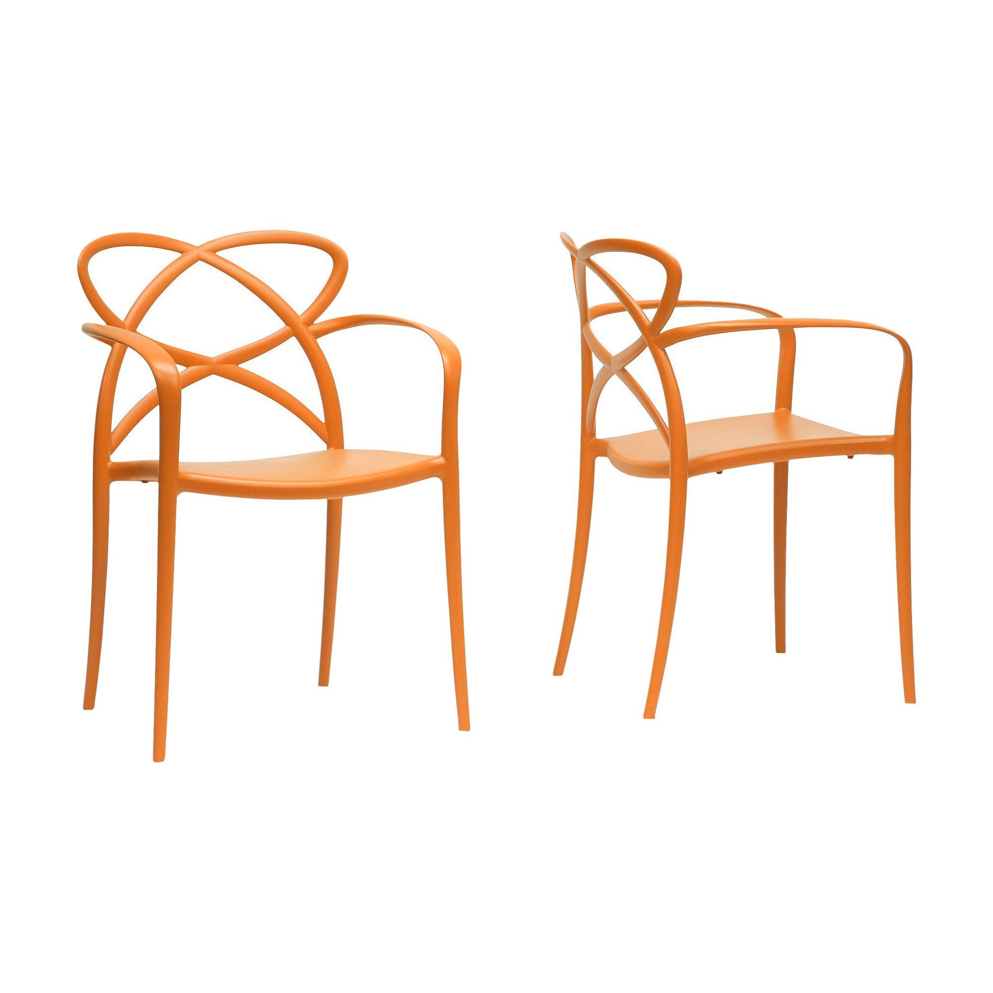 Huxx Plastic Stackable Modern Dining Chair   Orange (Set Of 2)   Baxton  Studio
