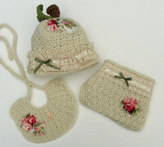 Crochet Apple Hat Pattern - 3 Piece Set - Crochet Diaper Cover & Bib ...