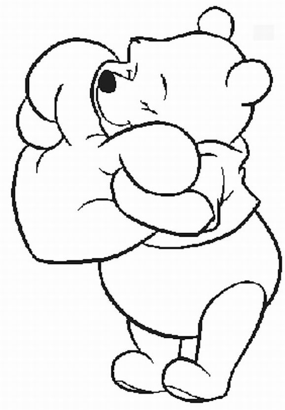 Pooh Valentine Coloring Pages Coloriage Winnie Winnie L Ourson