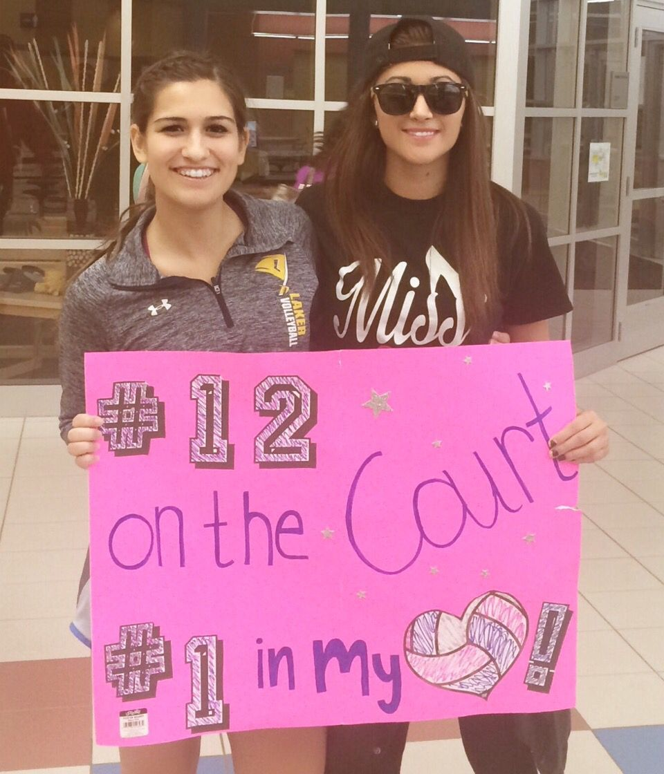 Volleyball Signs For High School Volleyball Games 12 On The Court 1 In My Heart Volleyball Signs Basketball Signs Volleyball Outfits