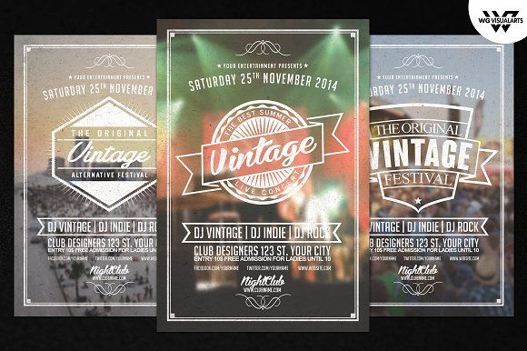 Vintage Retro Flyer Template Vol By WgVisualarts On