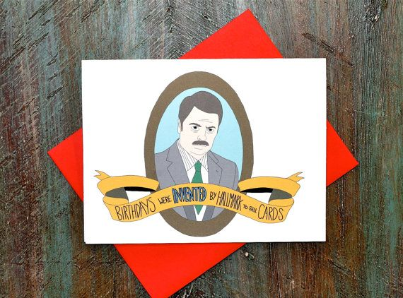 Ron Swanson Birthday Quote Card Parks and Rec by TurtlesSoup