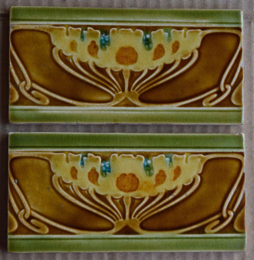 european - 2 antique art nouveau majolica border tiles c1900 ... - Weie Fliesen Bordre