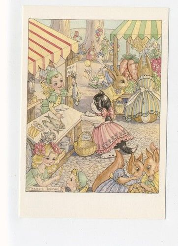 'Market Time' Marjorie Dawson vintage postcard, via ebay