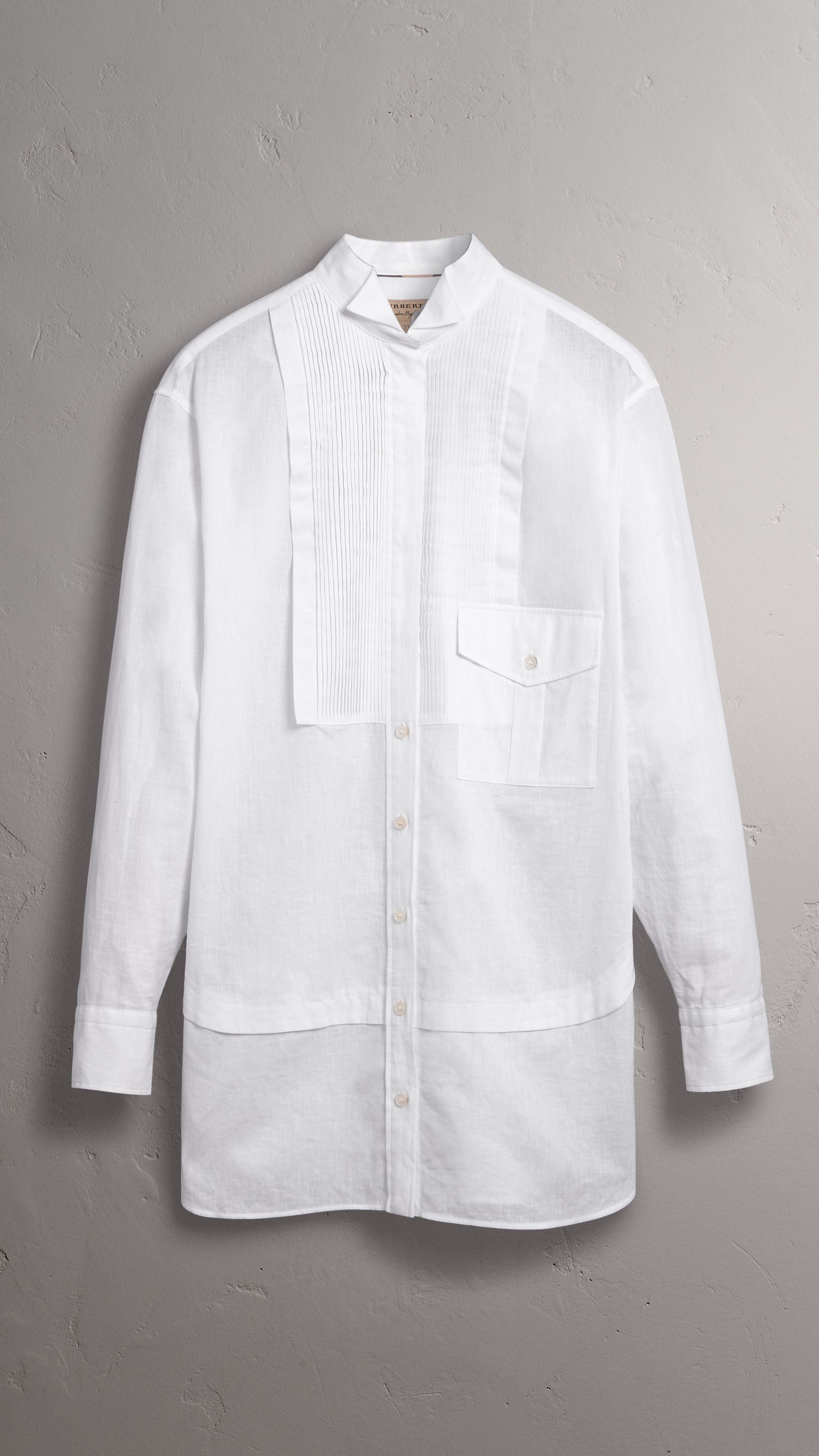 Pintuck Bib Wing Collar Longline Linen Cotton Shirt in White - Women | Burberry