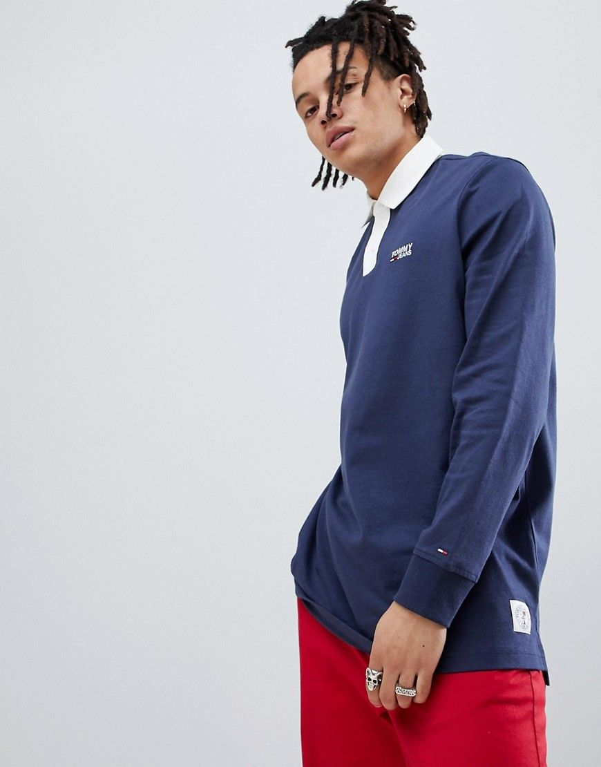 f840fd1b TOMMY JEANS ESSENTIAL RUGBY POLO FLAG LOGO IN NAVY - NAVY. #tommyjeans  #cloth