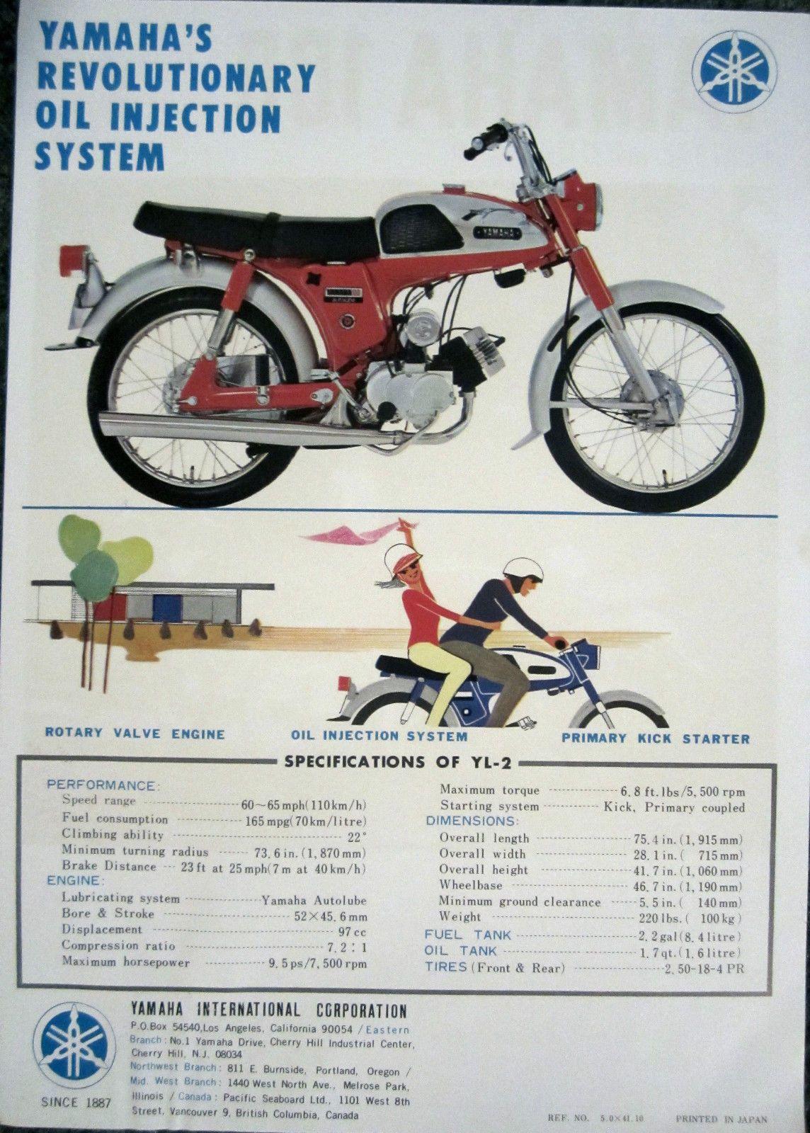 Vintage Dealer Sales Brochure for Yamaha YL2, YL-2 Rotary Jet 100 ...