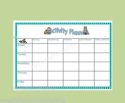 Wipeable Weekly Activity Planner Eyfs Childminder