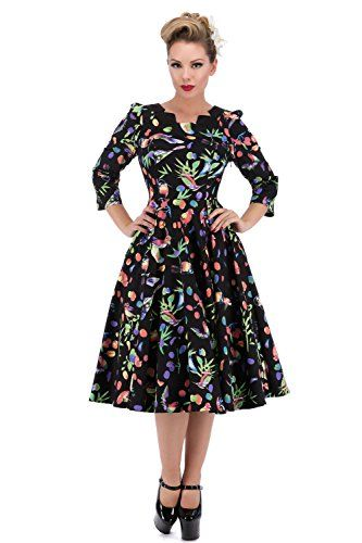 eaeecc302057 Hearts Roses of London Garden Birds Full Circle Tea Dress Black 16 * Find  out more about the great product at the image link.