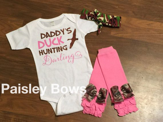 ba60a2c5c Daddy's duck hunting darling baby girl hunting by PaisleyBows ...