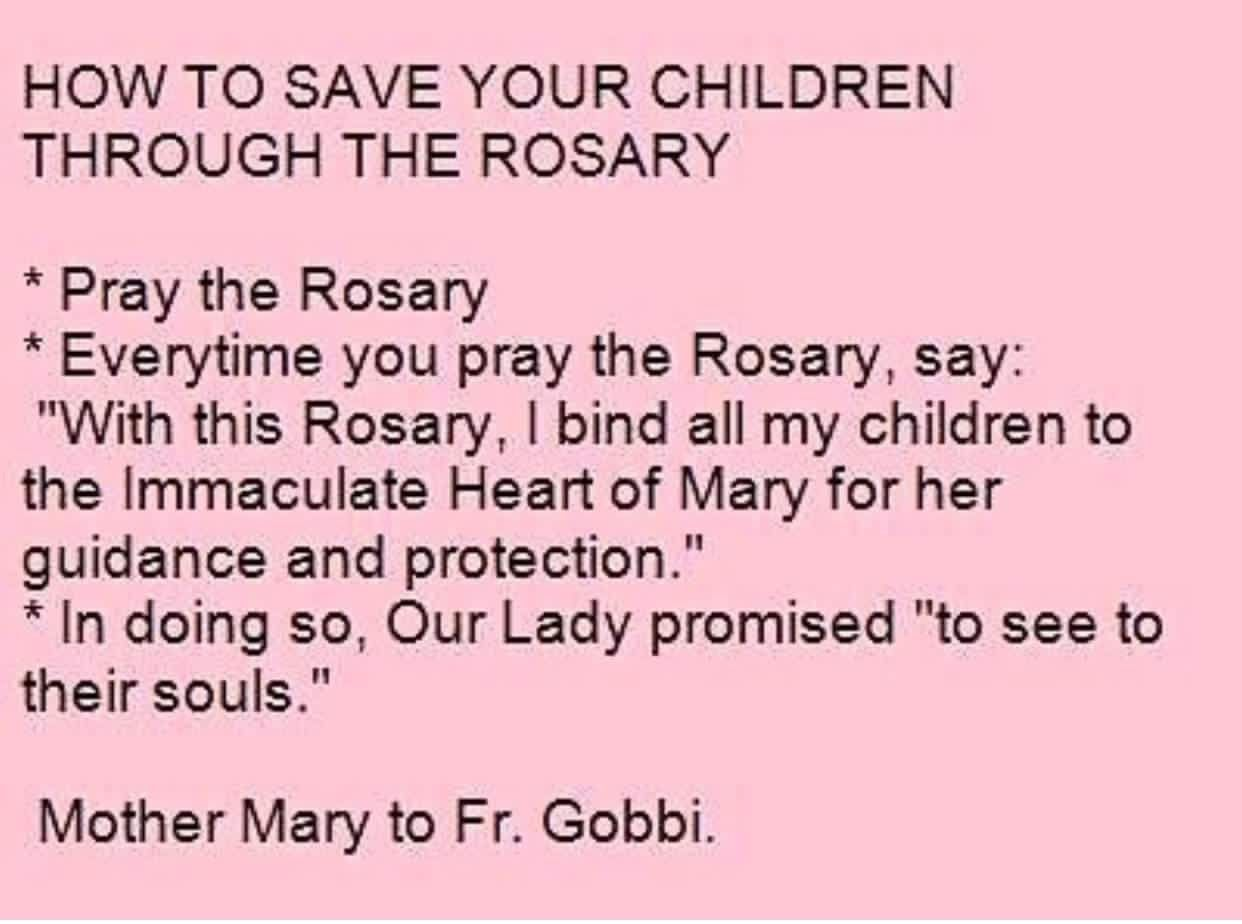 Catholic Quotes About Family: Saving Your Children Through Praying The Rosary