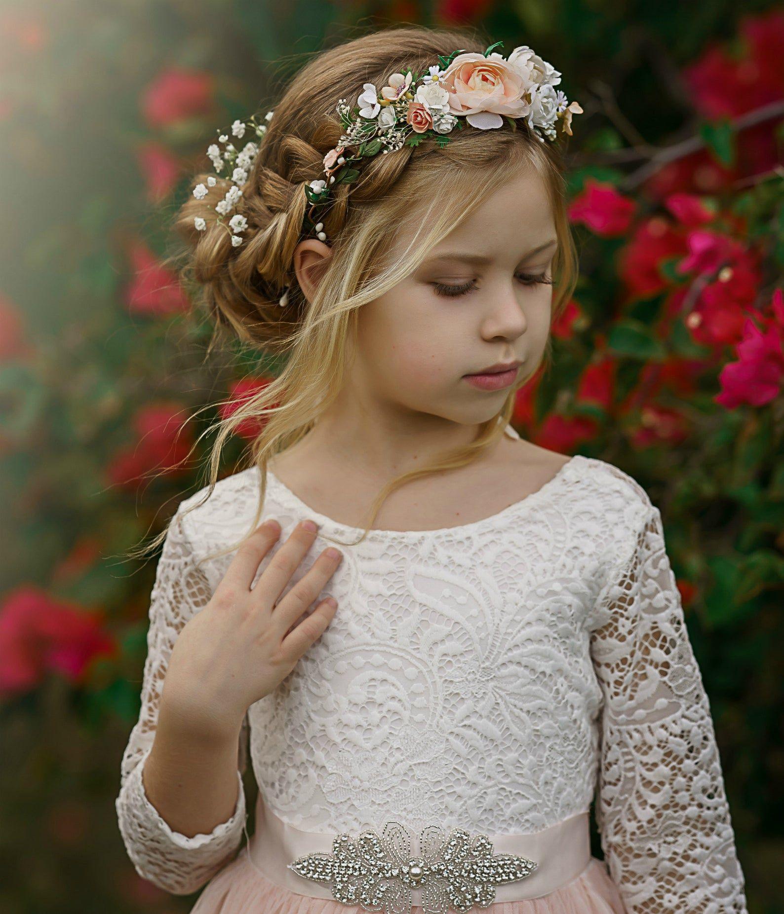 Blush tulle flower girl dress white lace flower girl