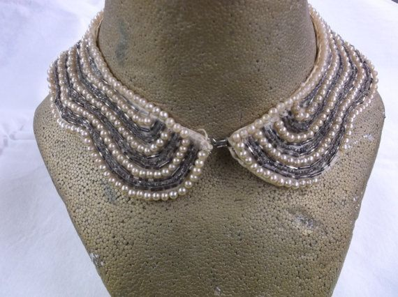 Pearl & Bead Beaded Collar Pearls Collar by MyLifeIsAHighway