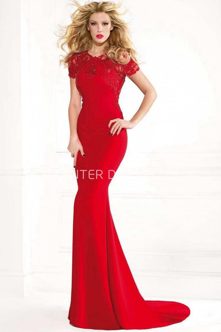 $155.59-Chic Xaviera Sheath Red Lace Evening Gown with Sleeves. http ...