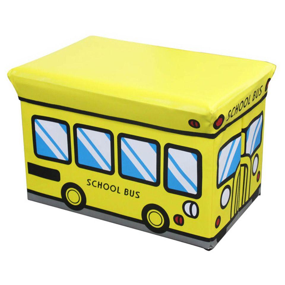 Brilliant Home Basics School Bus Kiddie Folding Storage Ottoman Kids Forskolin Free Trial Chair Design Images Forskolin Free Trialorg