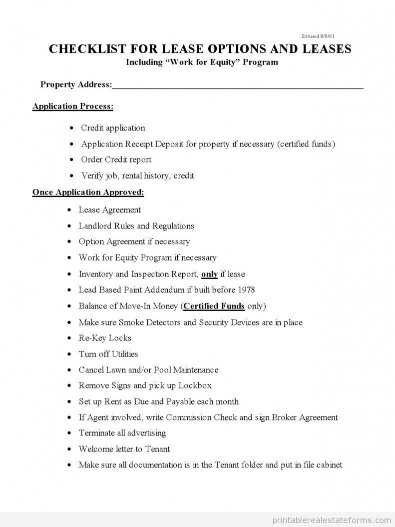 Checklist For Lease Options And Leases Lease Option Real Estate Checklist Rental Property Management