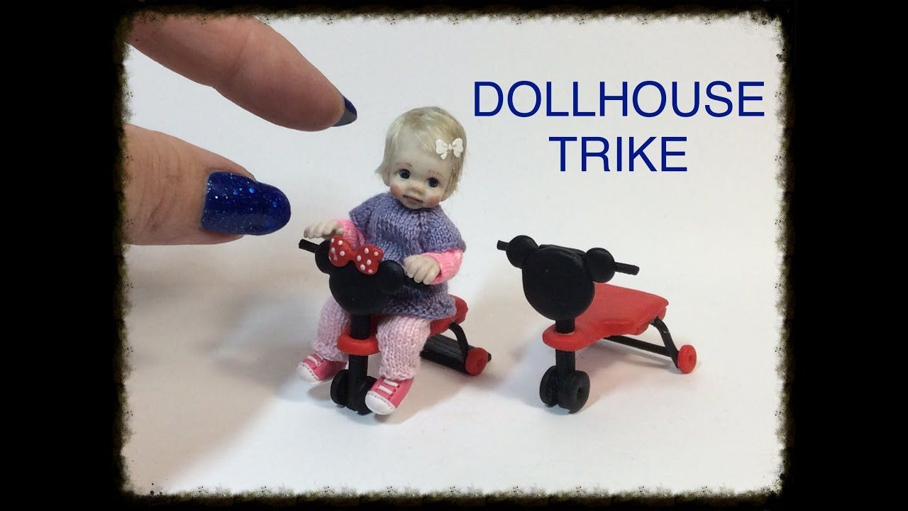 DIY MINIATURE DOLLHOUSE Baby Doll Trike Tricycle TUTORIAL VIDEO #dollhouseminiaturetutorials