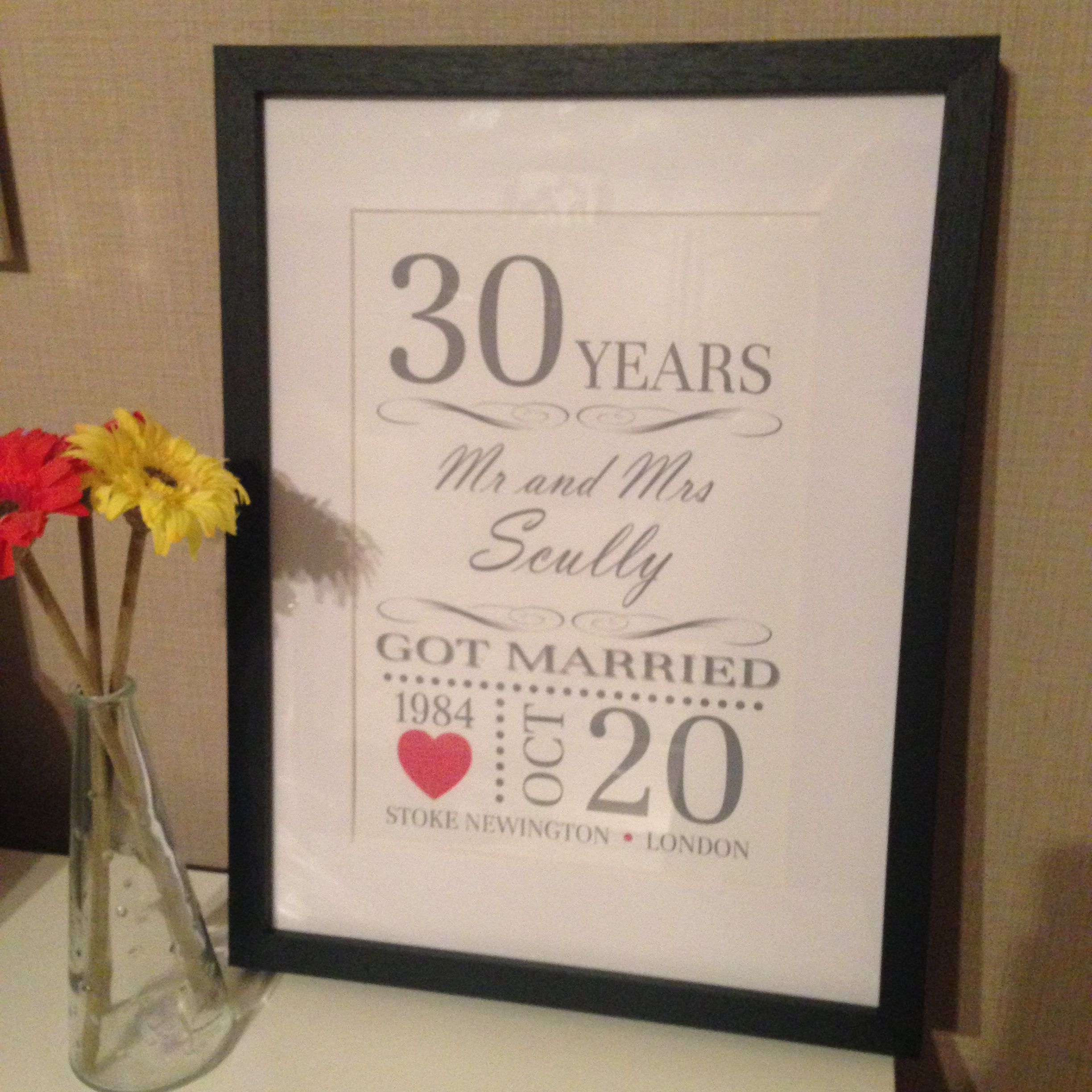 30th Wedding Anniversary Gift Ideas For Parents: Happy 30th Wedding Anniversary Print