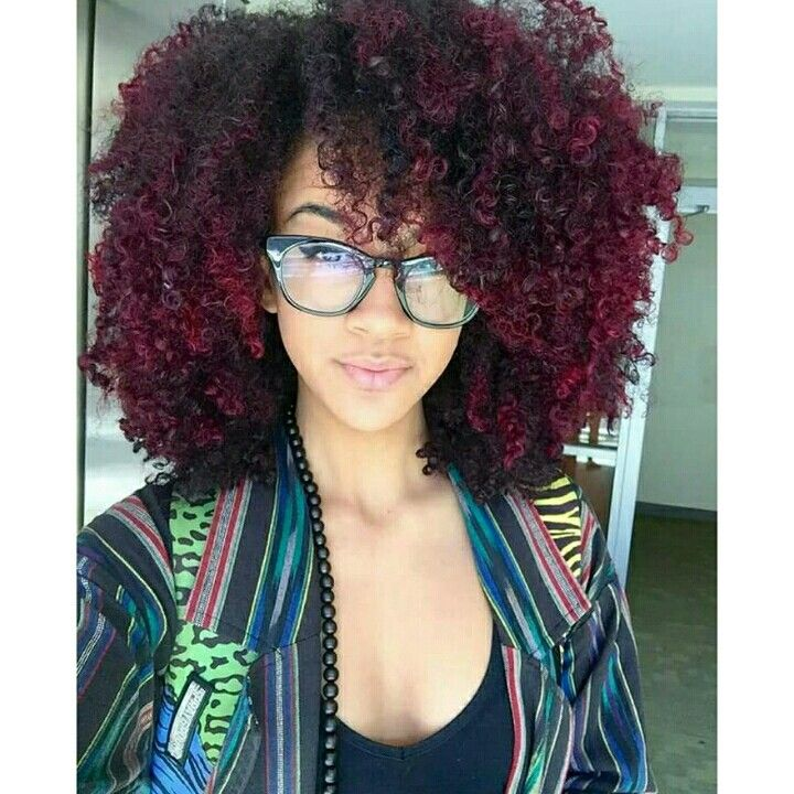 Burgundy Highlights Curly Hair Styles Natural Hair Styles Hair Styles