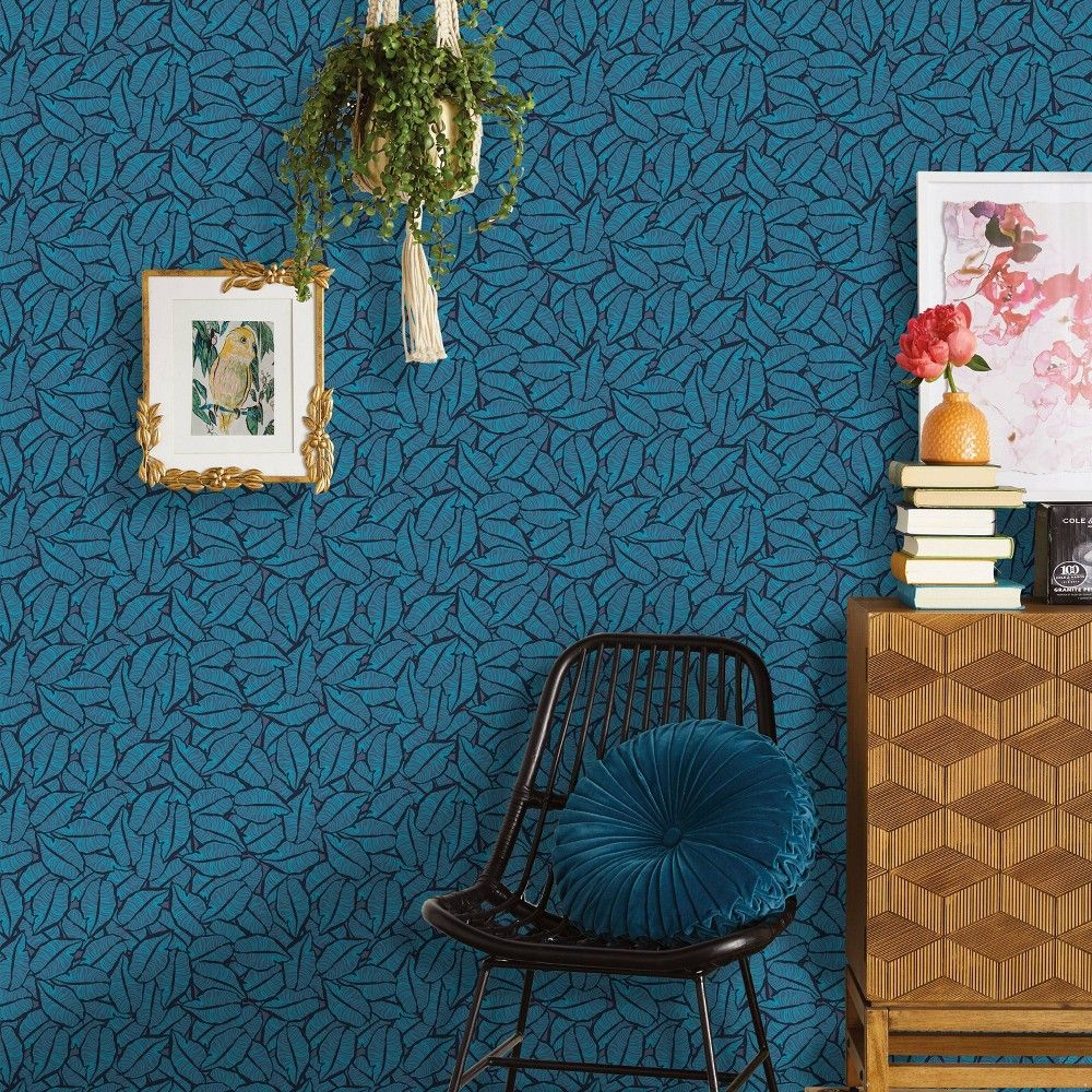 Layered Leaves Peel Stick Wallpaper Blue Opalhouse In 2021 Accent Walls In Living Room Peel And Stick Wallpaper Wallpaper Living Room