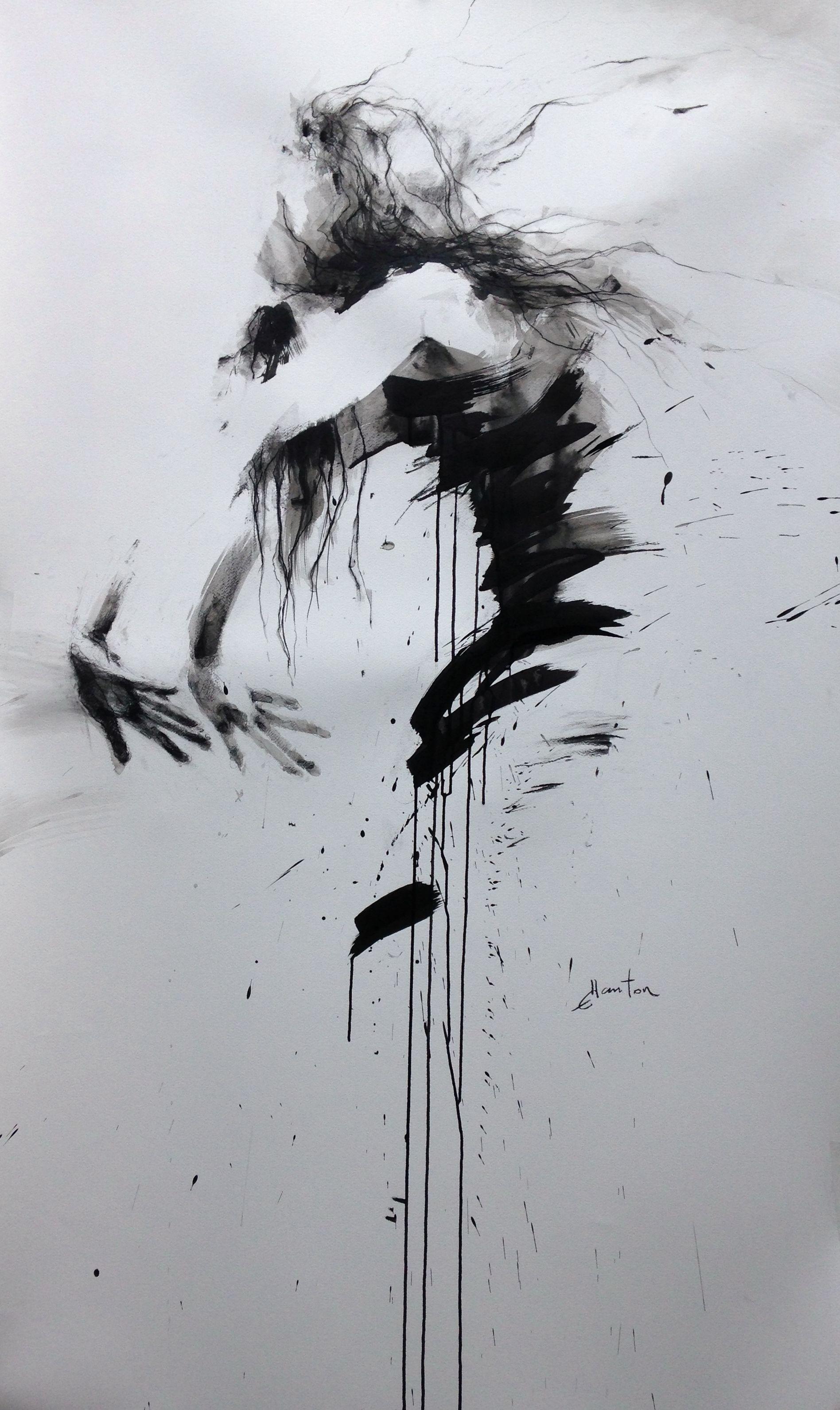 ewa hauton ink painting 150x90cm http://ewahauton.wix.com/peinture