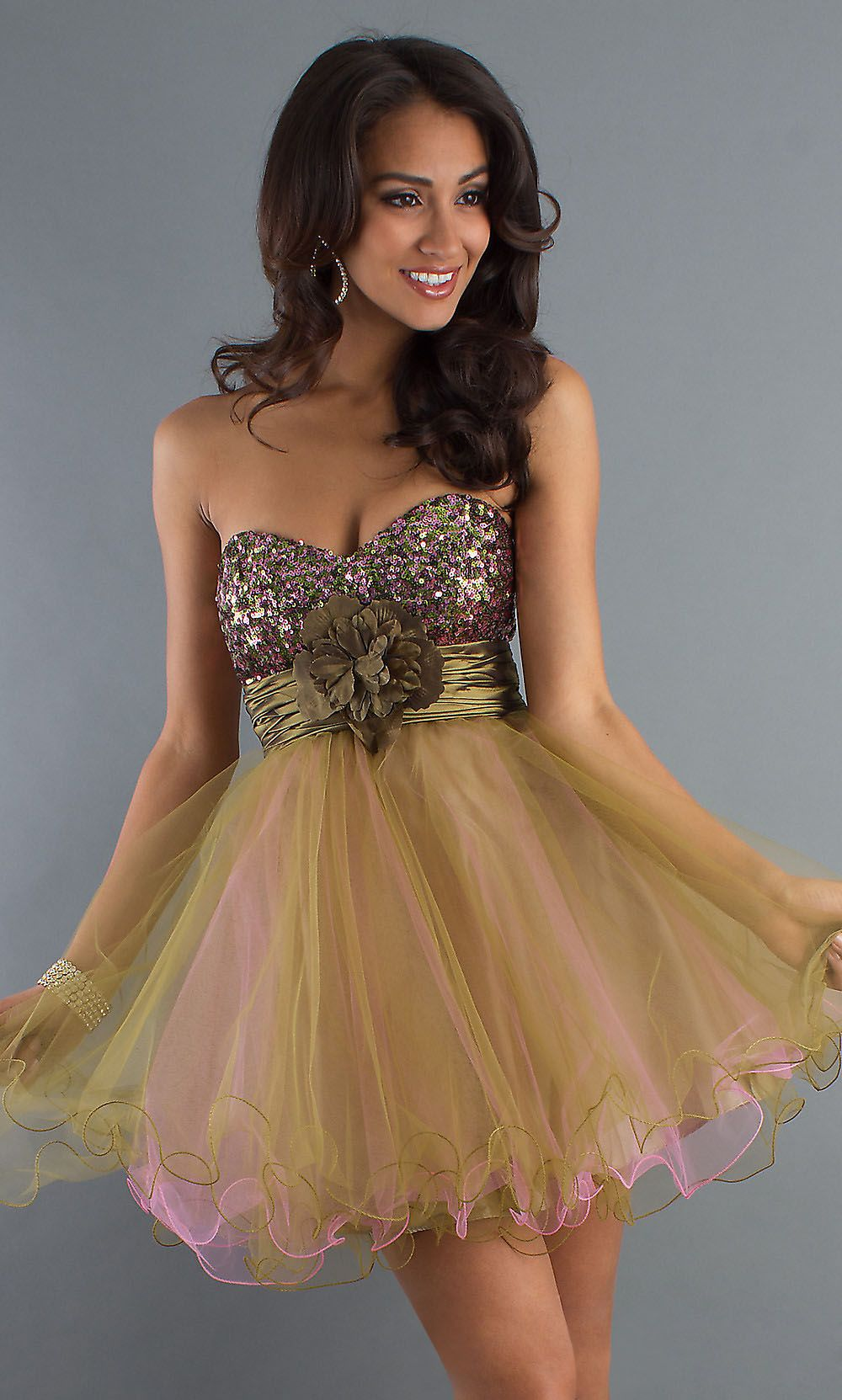 Short olive green pink homecoming dress strapless sequin top tulle