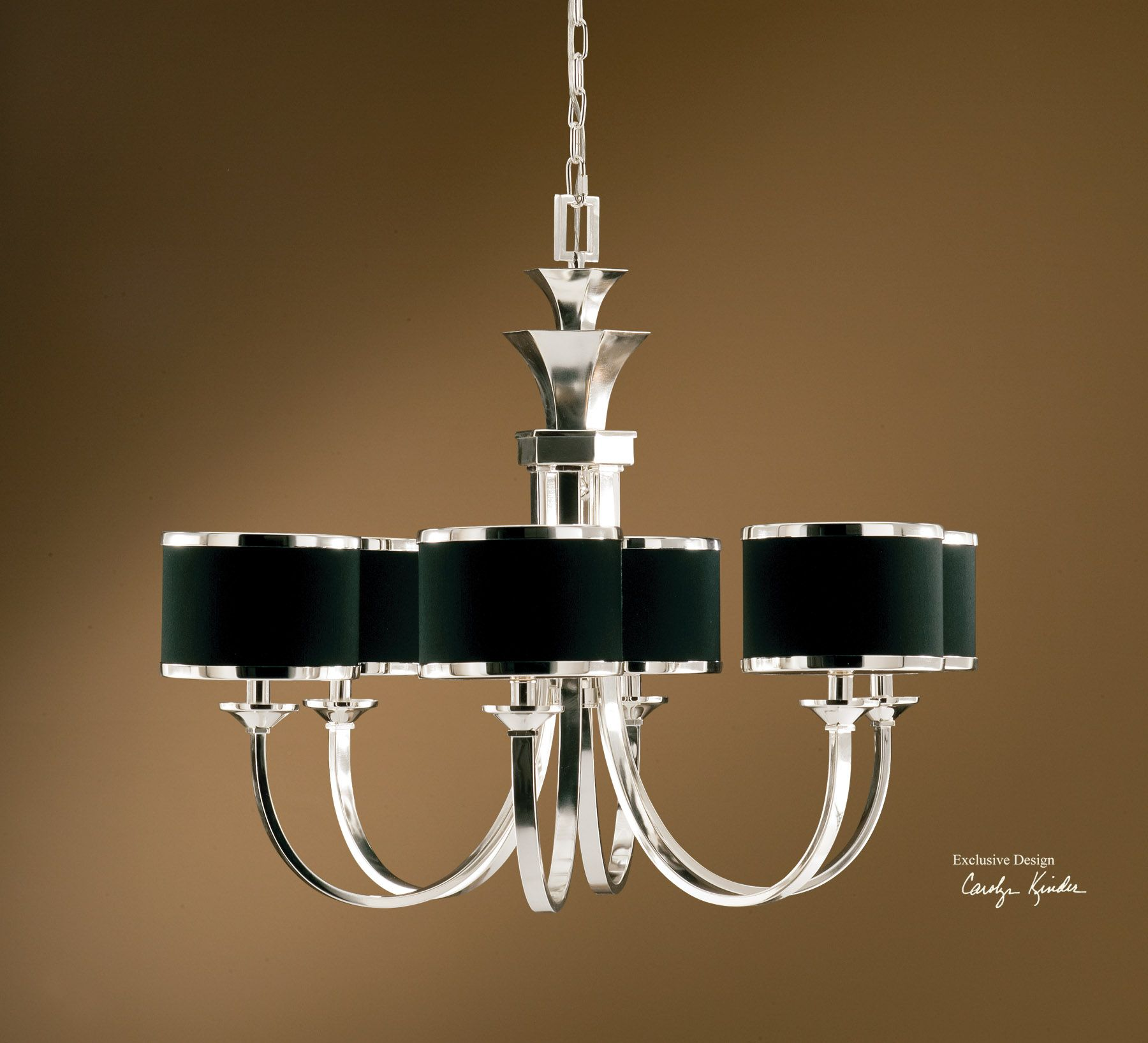 Uttermost Tuxedo 6 Light Black Shade Chandelier